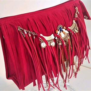 Handbags - Red Fringe Pochette Clutch Purse with Suede Tassle
